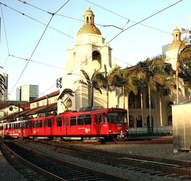 trolley in downtown san diego