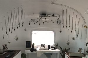 The Giving Keys airstream trailer popup shop on Traction Ave in LA