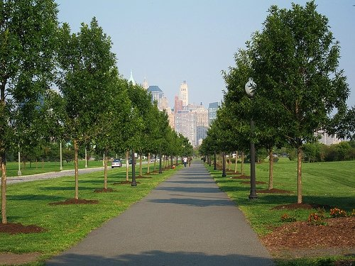 biking through liberty state park