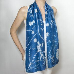 One of a kind cyanotype botanical print scarf on silk by Matt Shapoff