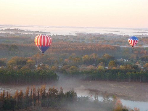 Hot air balloon ride in fall