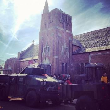 National Guard trucks at St. Francis de Sales