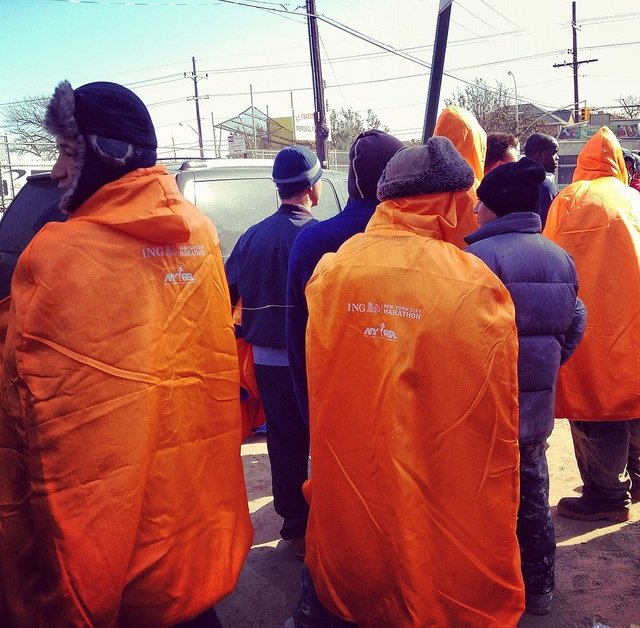 Displaced residents cloaked in marathon apparel