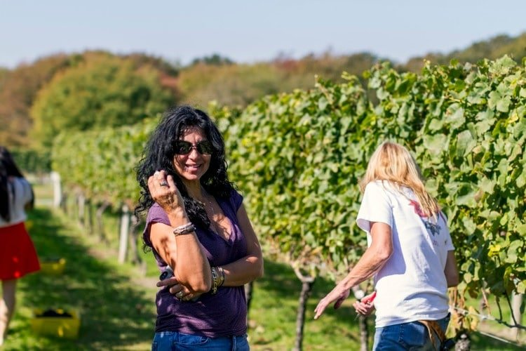 Carolyn on her vineyard