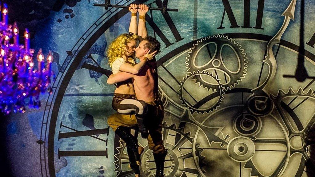 Aerial lovers performing daring feats