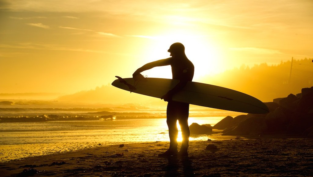 Surfer on Higgins Beach