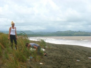The author digging a hole to reforest the beach