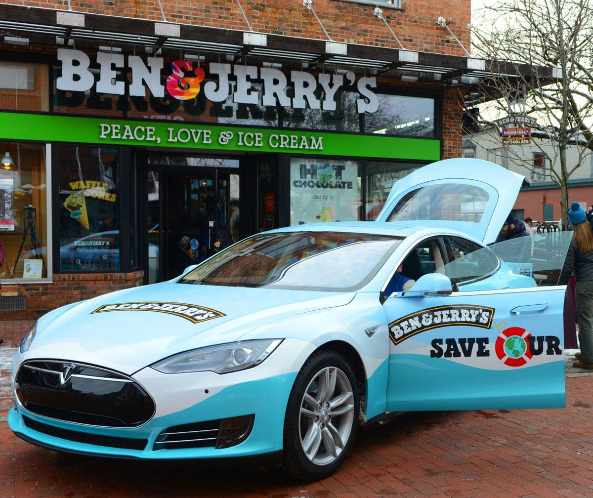 ben & jerry's free ice cream tesla