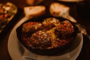 Meatballs at Barlago Restaurant in Oakland, CA.