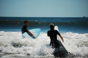 Surfing at Long Beach Long Island