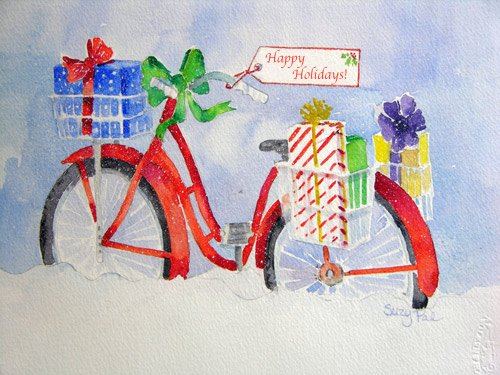 Happy Holidays Bike Card