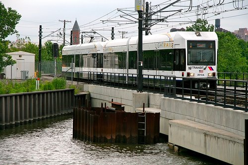 New Jersey Lightrail in motion