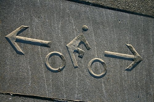 An imprint in the road marks the bicycle-friendly portion of the Manhattan Waterfront Greenway.