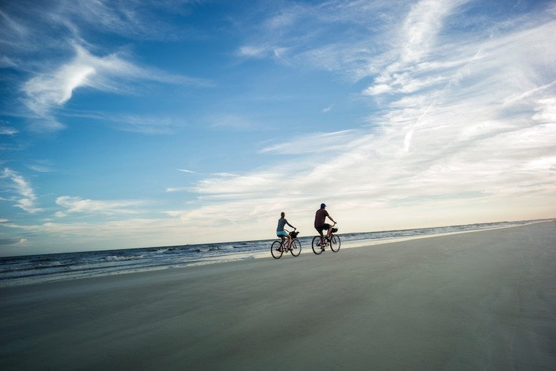 biking on beach