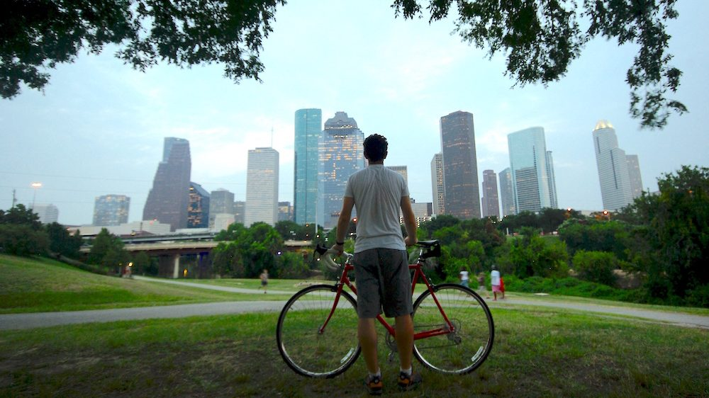 biking houston skyline