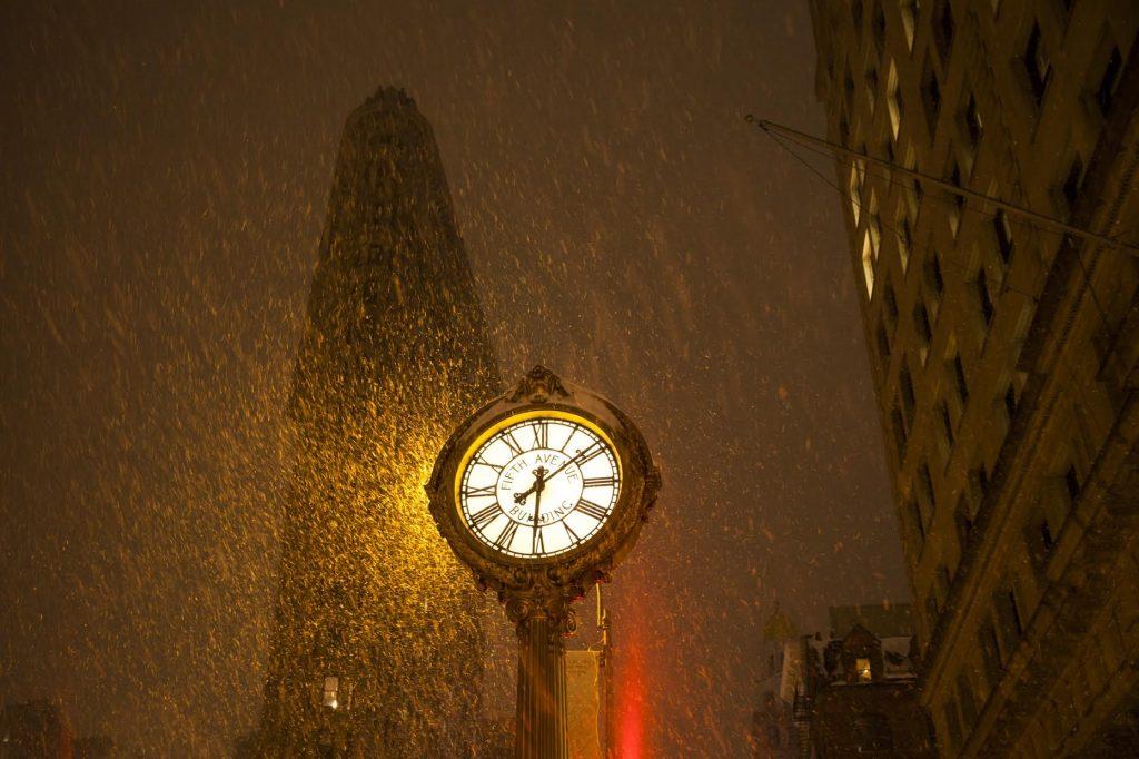 clock in rain