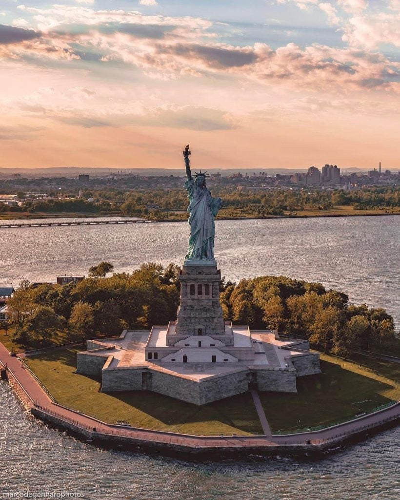 statue of liberty aerial