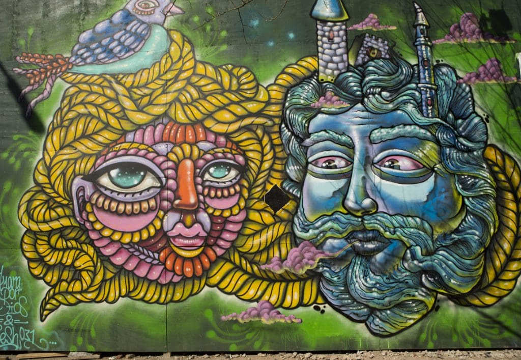 colorful starr street art project bushwick street art of two heads