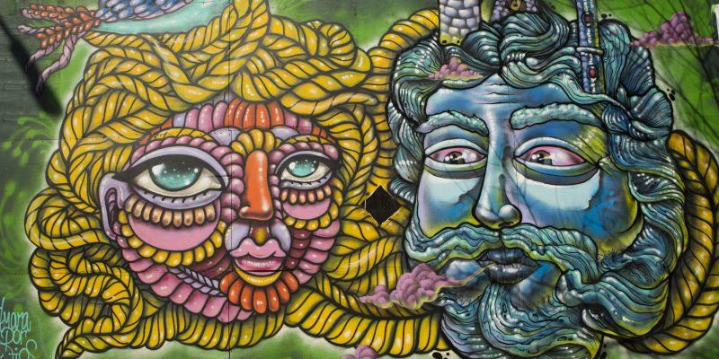 colorful starr street art project bushwick street art of two heads
