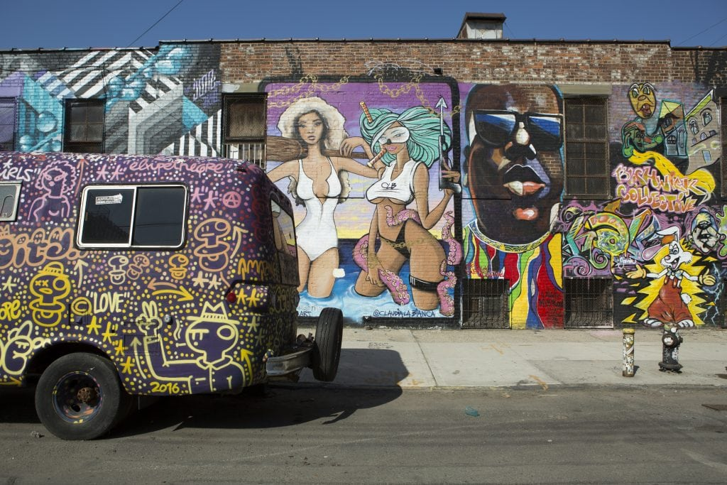 the bushwick collective mobile vintage shop with biggie street art