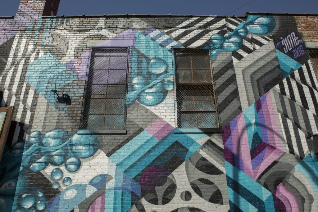 colorful linear street art for the bushwick collective by david june louf