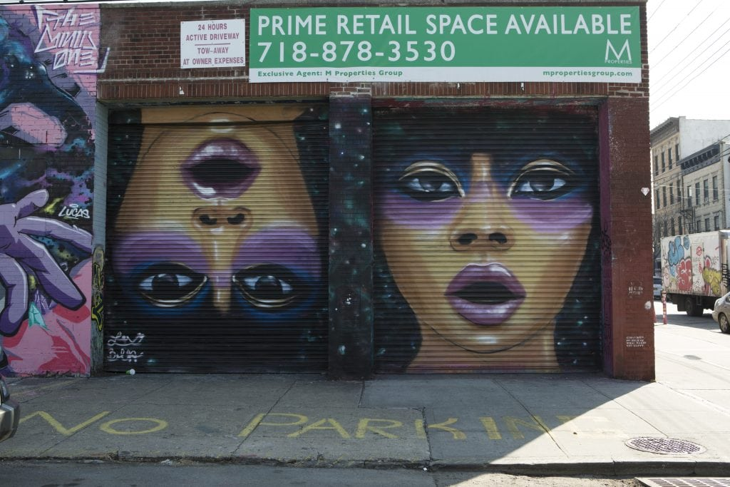 the bushwick collective street art corner with female portrait
