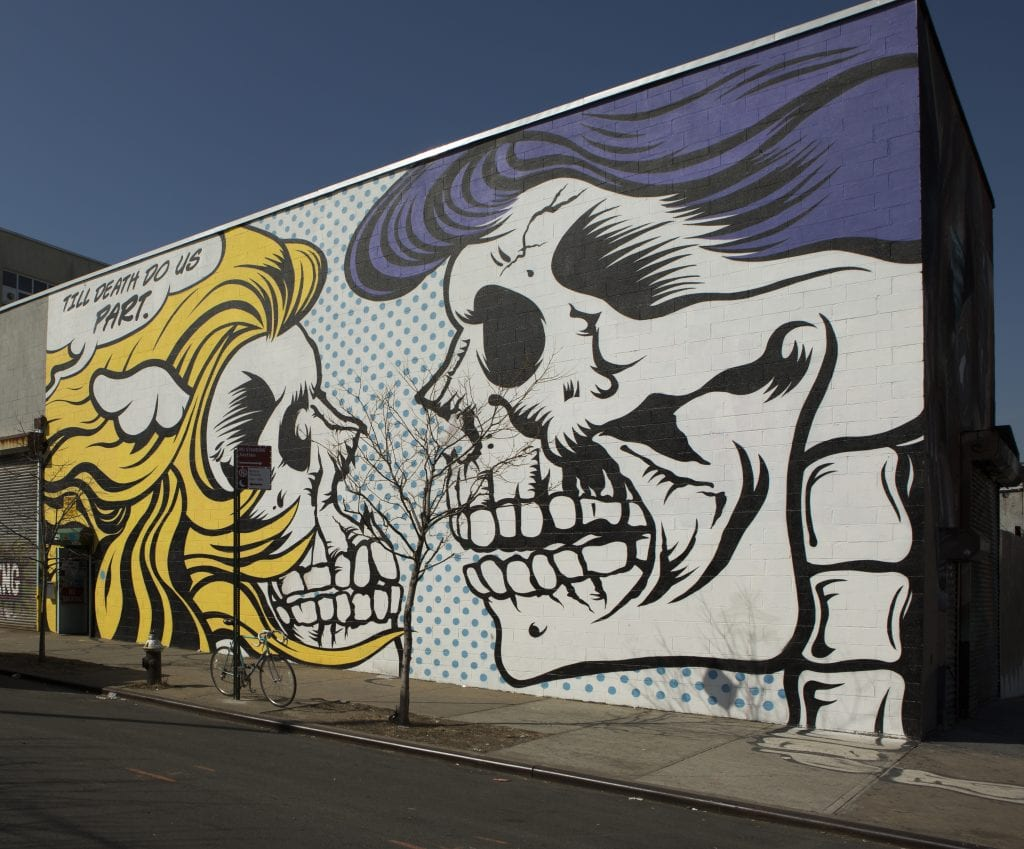 the bushwick collective street art till death do us part skulls comic