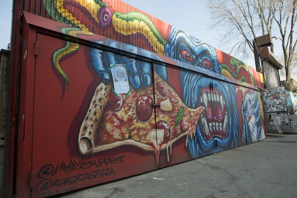 bushwick street art White Street to Moore Street robertas pizza l'amour suprim