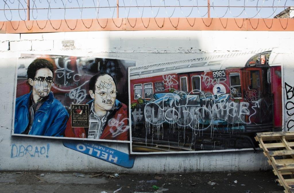 bushwick street art White Street to Moore Street graffiti seinfeld postcards