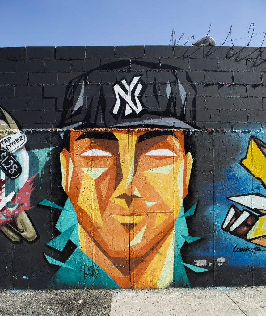 bushwick street art White Street to Moore Street davefoto yankees portrait