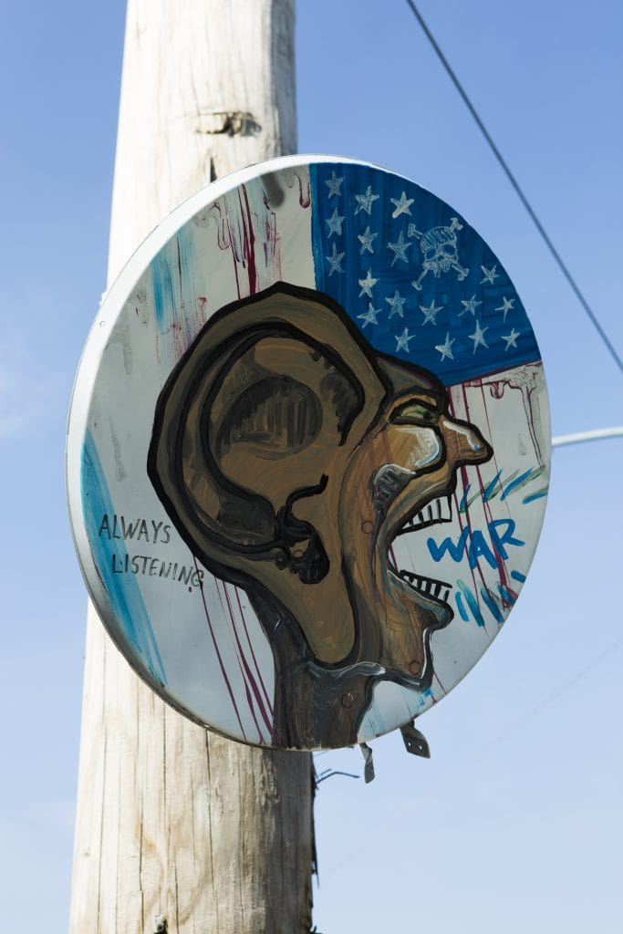 bushwick street art White Street to Moore Street installation large ear painted on american flag satellite dish