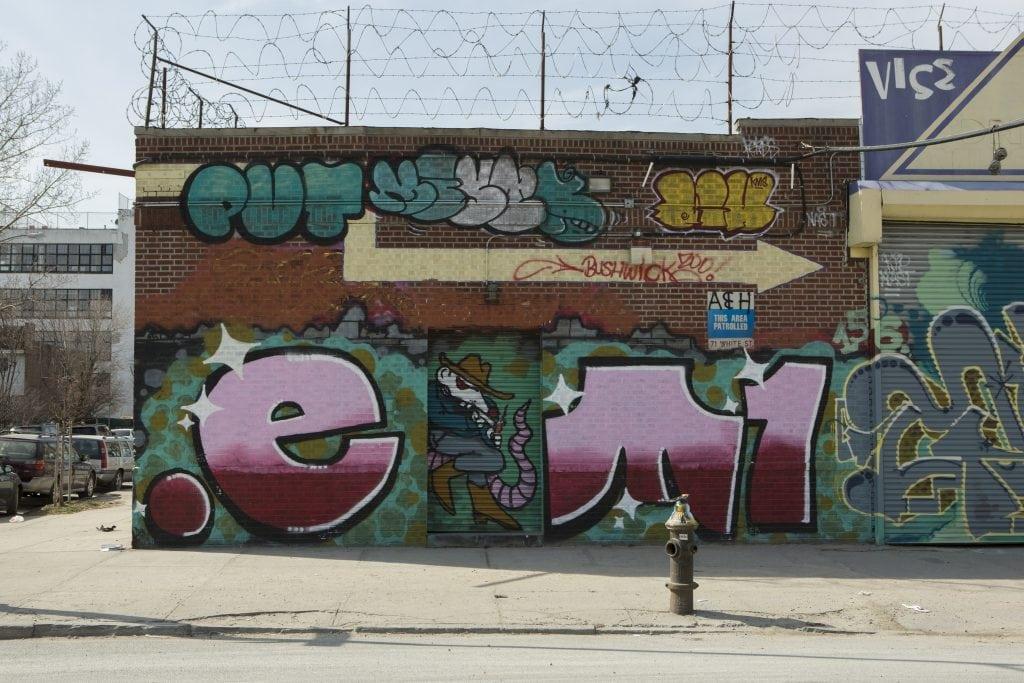 mckibbin street to white street bushwick street art graffiti tags detective mouse