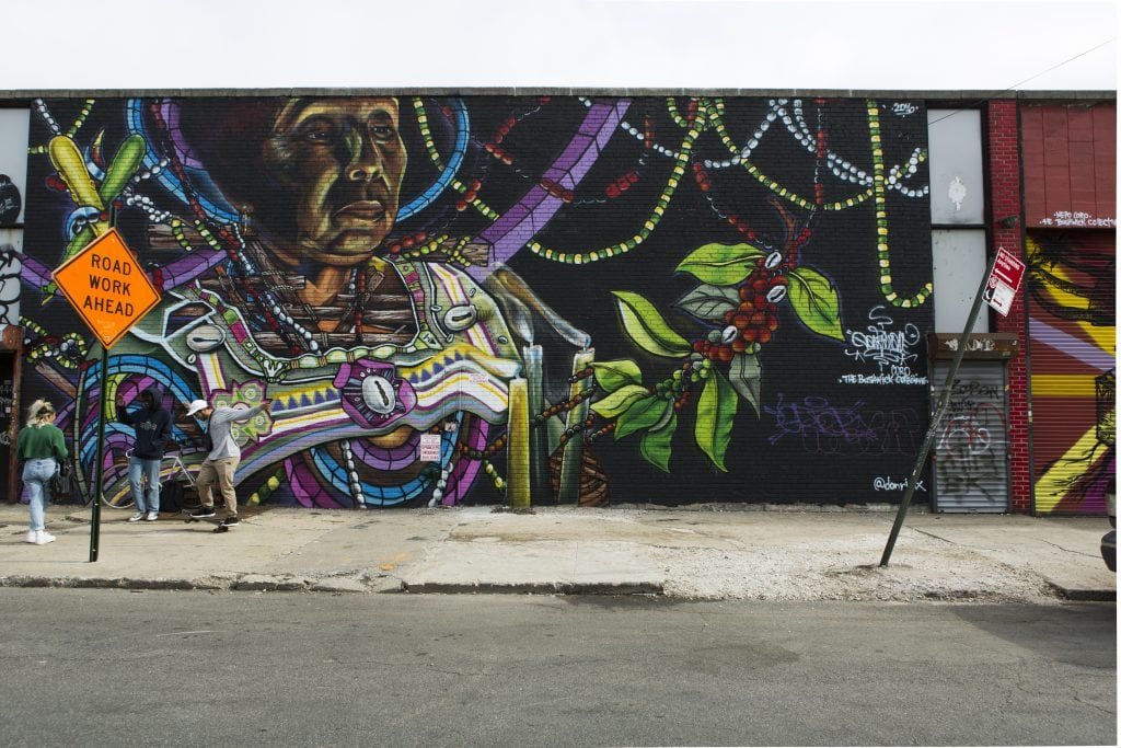 the bushwick collective street art native american with plants mural