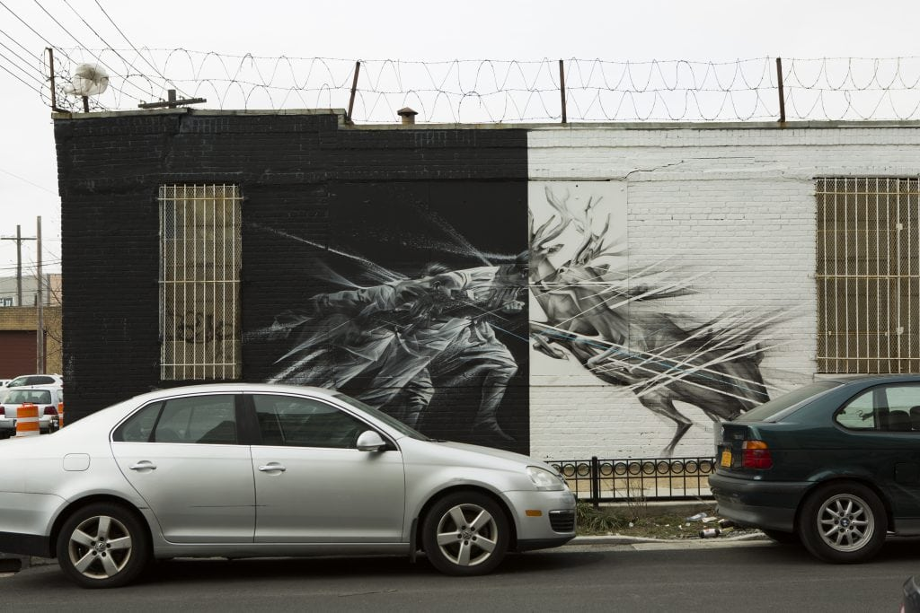 the bushwick collective street art linear black and white deer