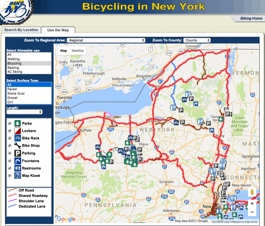 Bicycling in New York map