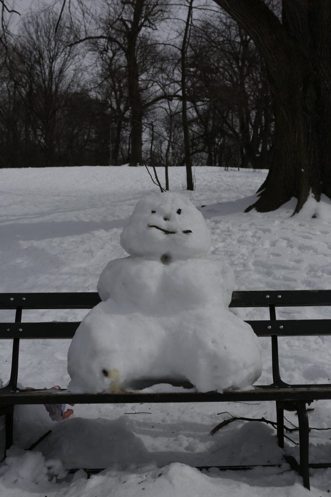 A snowman in Prospect Park